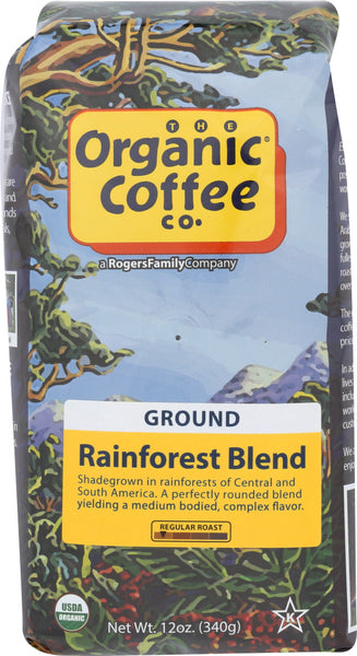Organic Coffee Co: Coffee Ground Forest Rain First Blend, 12 Oz