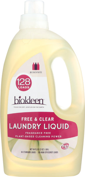 Bio Kleen: Laundry Liquid Free And Clear Unscented, 64 Oz