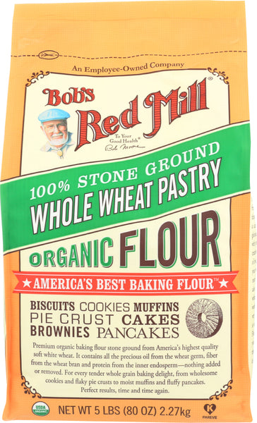 Bob's Red Mill: 100% Stone Ground Whole Wheat Pastry Organic Flour, 5 Lb