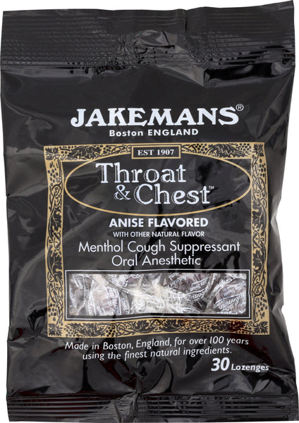 Jakemans: Lozenge Throat And Chest Licorice Menthol, 30 Pc