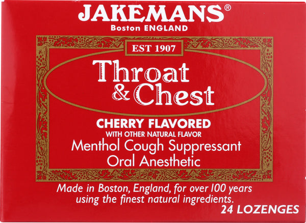 Jakemans: Lozenge Throat And Chest Cherry Menthol, 24 Pc