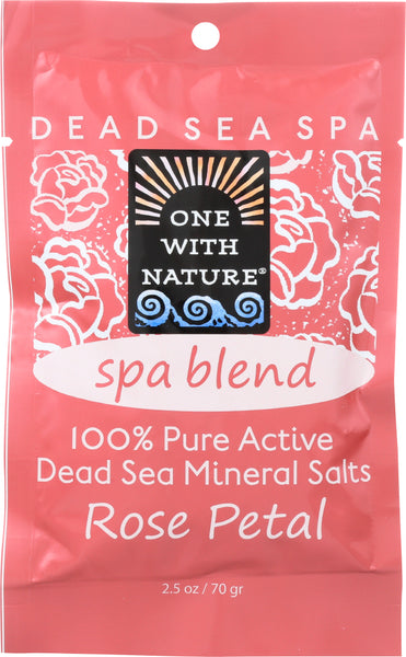 One With Nature: 100% Pure Active Dead Sea Minerals Salts Spa Blend Rose Petal, 2.5 Oz