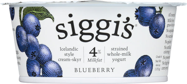 Siggis: 4% Whole Milk Strained Yogurt Blueberry, 4.4 Oz