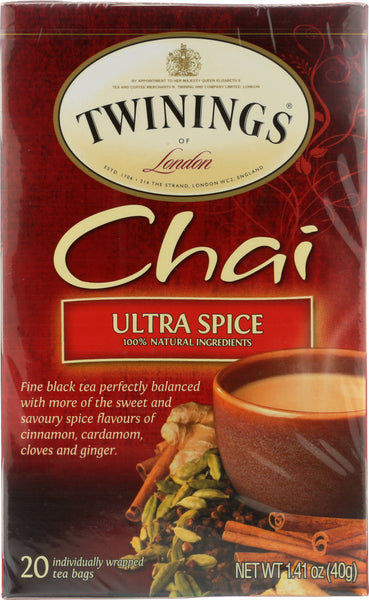 Twinings Of London: Tea Tea Chai Ultra Spice, 20 Tea Bags, 1.41 Oz
