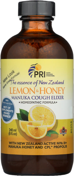 Pri: Cough Elixir Lemon Manuka Honey, 8 Fo
