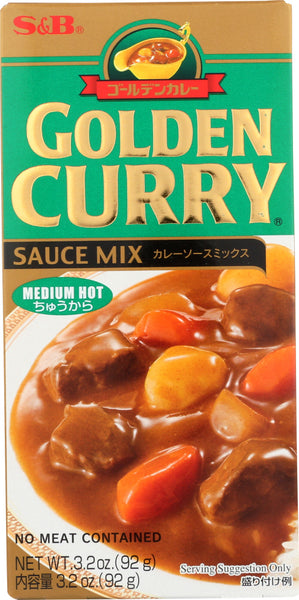 S & B: Sauce Mix Medium Hot Golden Curry, 3.2 Oz