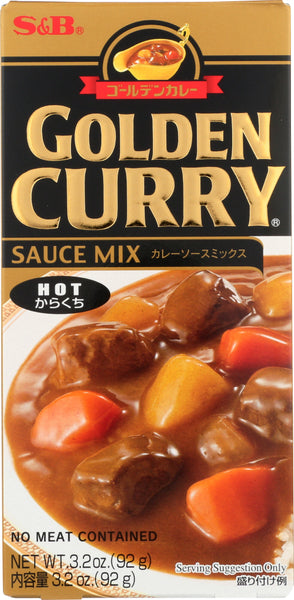 S & B: Sauce Mix Hot Golden Curry, 3.2 Oz