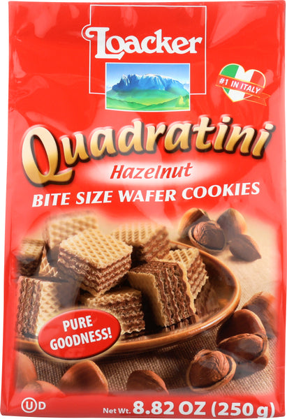 Loacker: Quadratini Bite Size Wafer Cookies Hazelnut, 8.82 Oz