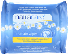 Natracare: Organic Cotton Intimate Wipes, 12 Wipes