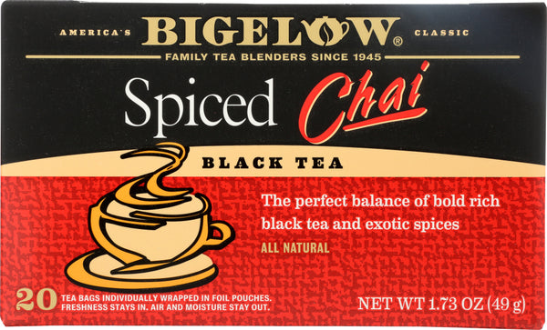 Bigelow: Spiced Chai Black Tea 20 Tea Bags, 1.73 Oz