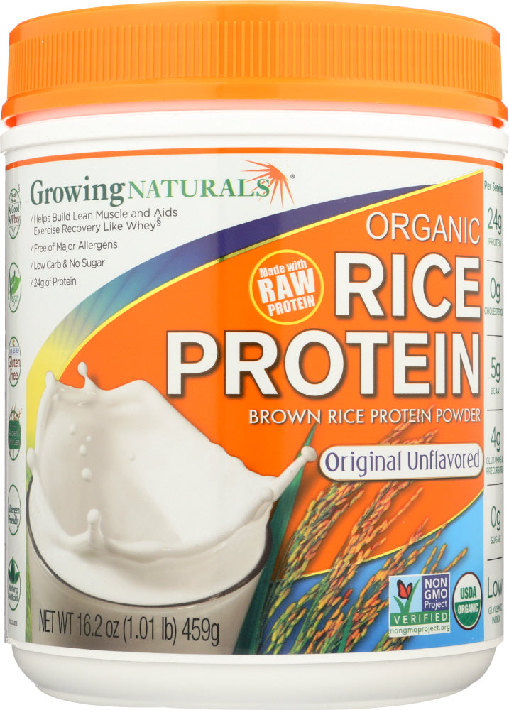 Growing Naturals: Organic Raw Rice Protein Original, 16.2 Oz