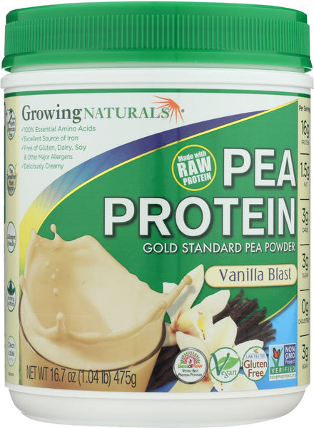 Growing Naturals: Yellow Pea Protein Vanilla Blast, 16.7 Oz