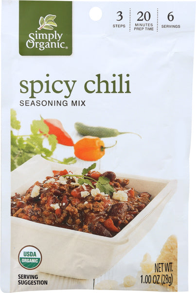 Simply Organic: Seasoning Mix Spicy Chili, 1 Oz