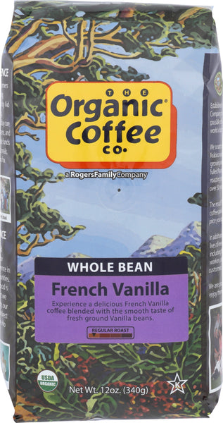Organic Coffee Co.: Whole Bean Coffee French Vanilla, 12 Oz
