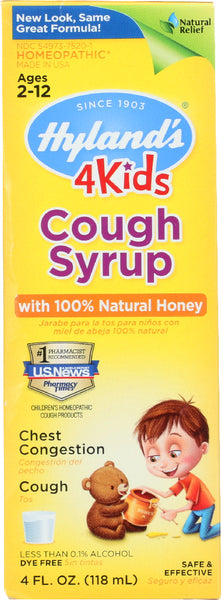 Hyland's: Cough Syrup 4 Kids With 100% Natural Honey, 4 Oz
