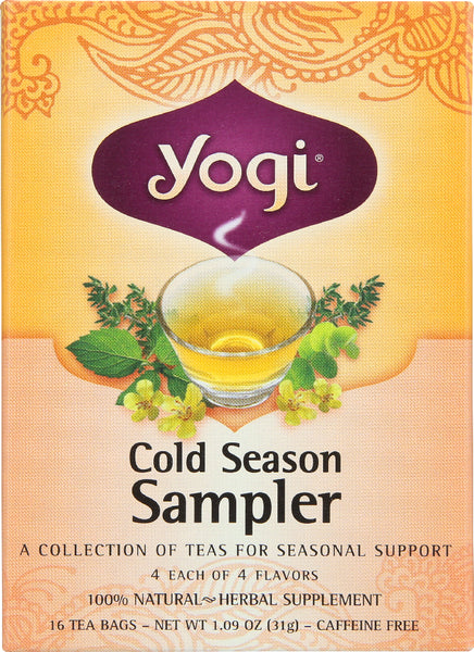 Yogi Teas: Cold Season Tea Sampler Caffeine Free, 16 Tea Bags