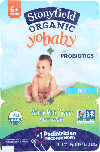 Stonyfield: Organic Yobaby Plain Yogurt 6 Pack (4 Oz Each), 24 Oz