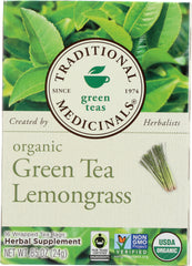 Traditional Medicinals: Organic Green Tea Lemongrass 16 Tea Bags, 0.85 Oz