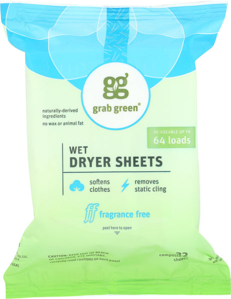 Grabgreen: Wet Dryer Sheets Fragrance Free 64 Loads, 8.64 Oz
