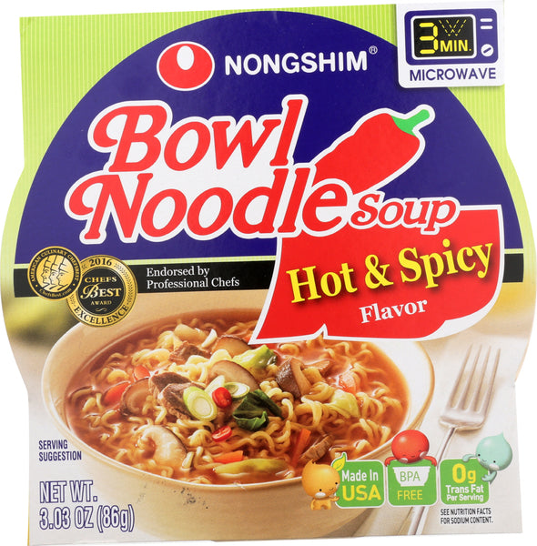 Nong Shim: Soup Bowl Noodle Hot Spicy, 3.03 Oz
