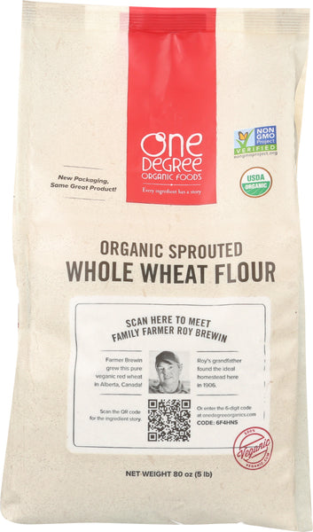 One Degree: Flour Whole Wheat Sprouted Organic, 80 Oz
