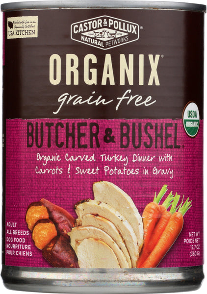Castor & Pollux: Dog Food Can Organic Butcher And Bushel Turkey Carrots, 12.7 Oz