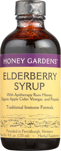 Honey Garden: Honey Garden: Elderberry Honey Syrup, 4 Fo