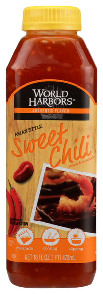 World Harbors: Sauce Asian Style Sweet Chilli Medium Heat, 16 Oz