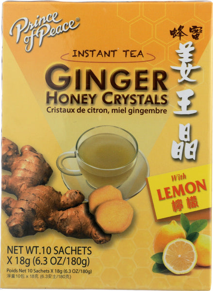 Prince Of Peace: Instant Tea Ginger Ginger Honey Crystals With Lemon, 10 Bg