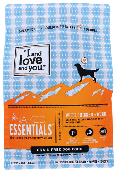 I&love&you: Naked Essentials Kibble Chicken & Duck Dog Food, 4 Lb