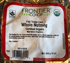 Frontier Herb: Organic Nutmeg Whole Fair Trade, 16 Oz