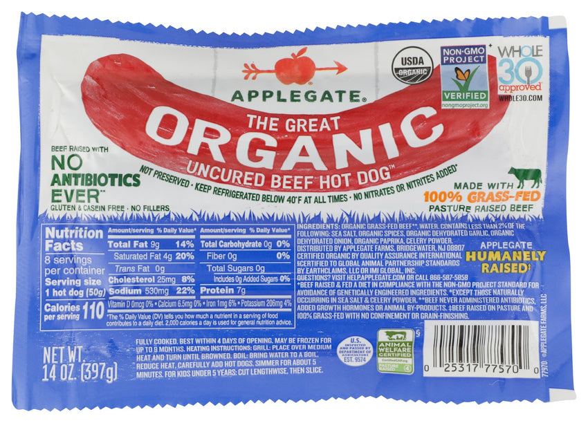 Applegate: The Great Organic Uncured Beef Hot Dog, 14 Oz
