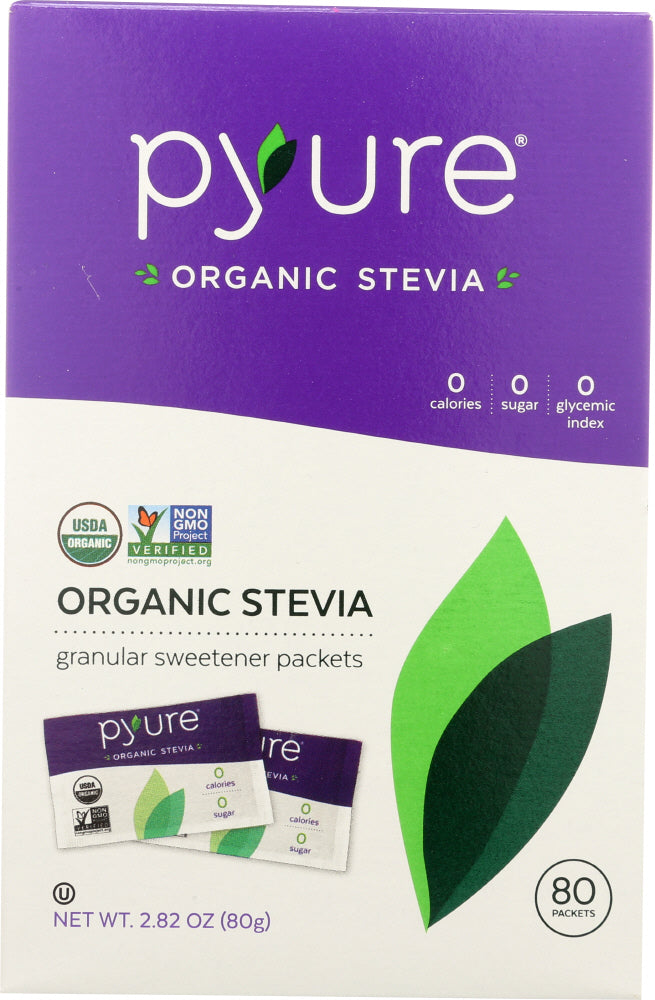 Pyure: Organic Stevia Sweetener Packets 80 Count, 2.82 Oz