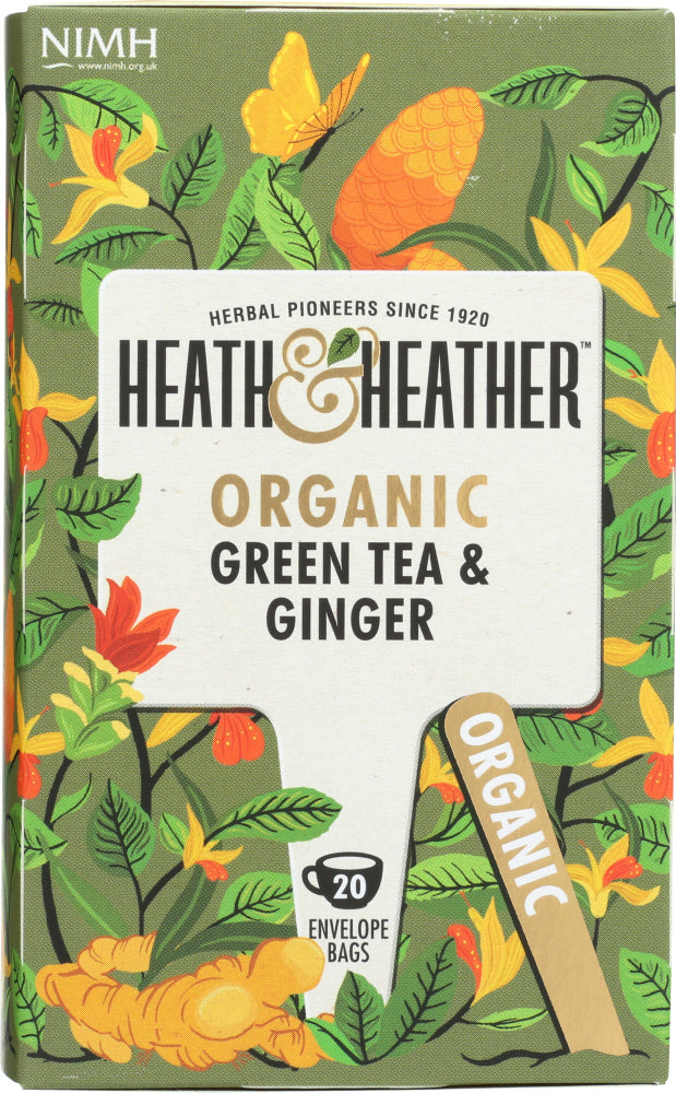 Heath And Heather: Organic Green Tea And Ginger, 20 Ea
