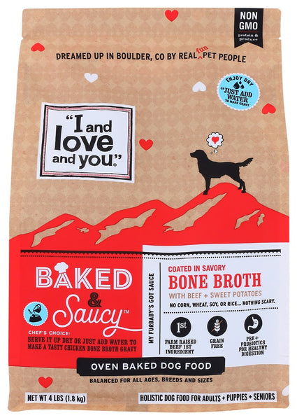 I And Love And You: Beef And Sweet Potatoes Bone Broth Dog Food, 4 Lb