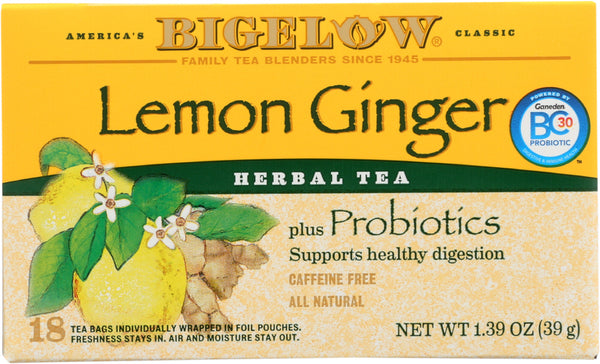 Bigelow: Lemon Ginger Herbal Tea Probiotics 18 Bags, 1.39 Oz