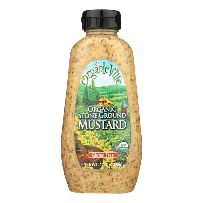 Organic Ville Organic Mustard - Stone Ground - Case Of 12 - 12 Oz.