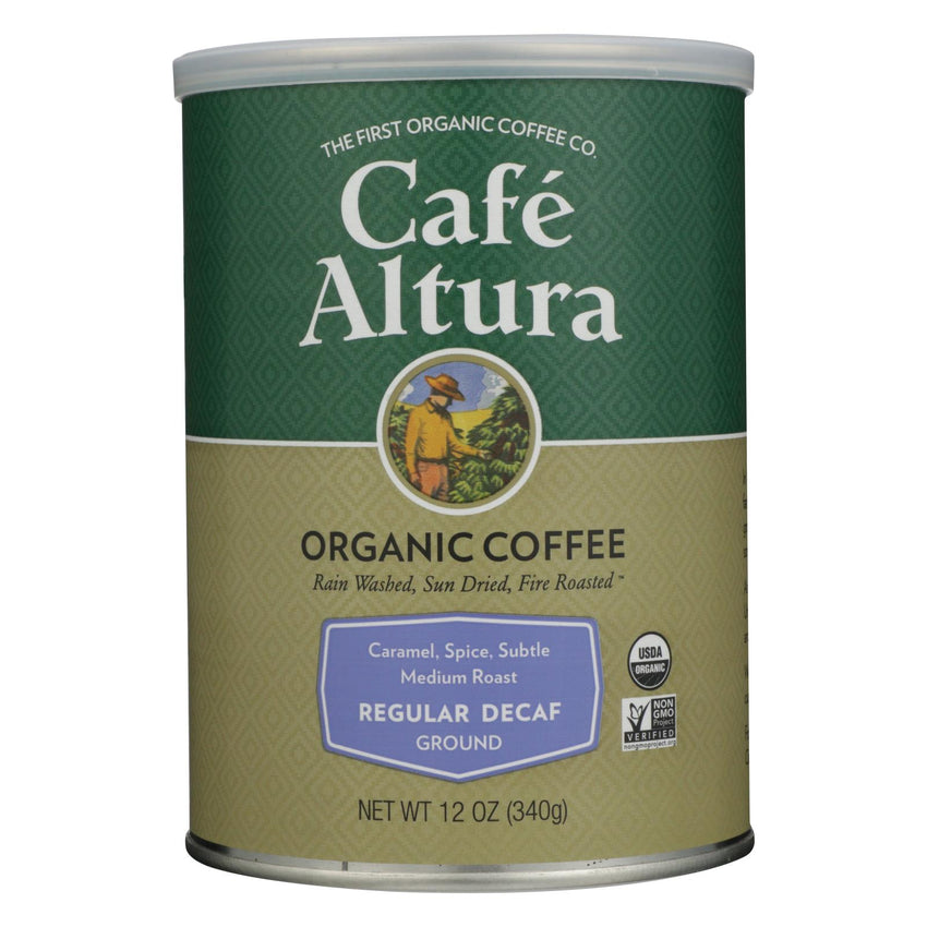Cafe Altura - Organic Regular Roast Ground Coffee - Decaf - Case Of 6 - 12 Oz