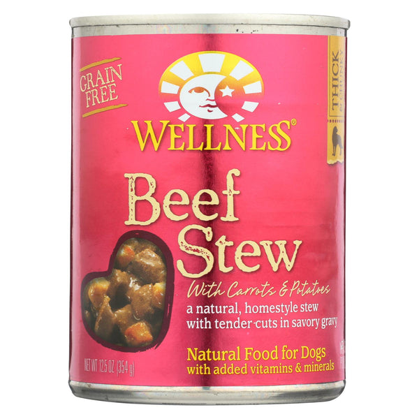 Wellness Pet Products Dog Food - Beef With Carrot And Potatoes - Case Of 12 - 12.5 Oz.