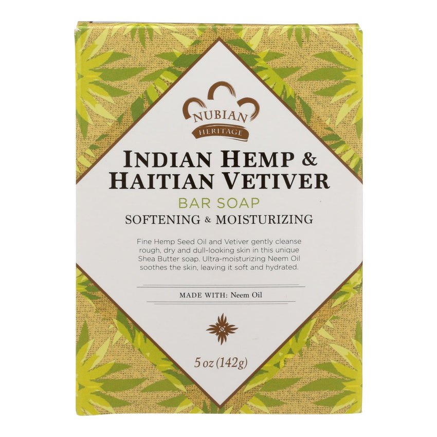 Nubian Heritage Bar Soap Indian Hemp And Haitian Vetiver - 5 Oz
