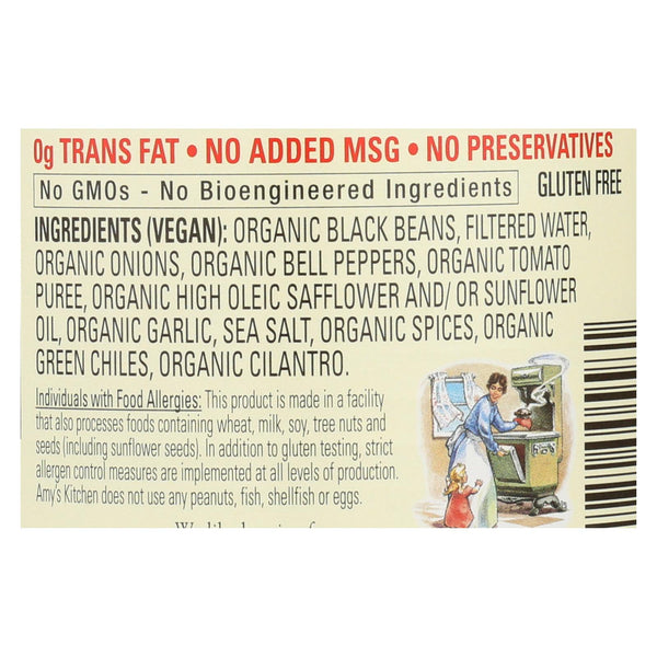 Amy's - Organic Light In Sodium Refried Black Beans - Case Of 12 - 15.4 Oz.