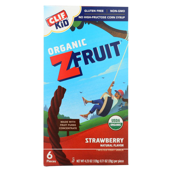 Clif Bar Organic Kid Twisted Fruit Rope - Strawberry - Case Of 6 - 0.7 Oz.