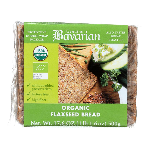 Genuine Bavarian Organic Bread - Flaxseed - Case Of 6 - 17.6 Oz.