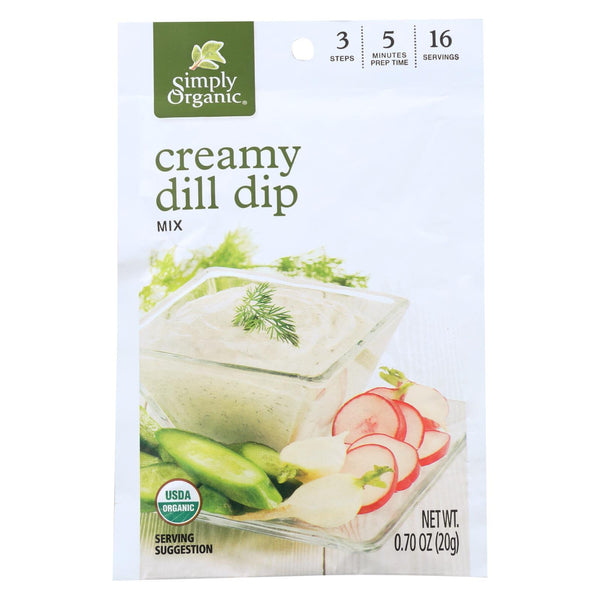 Simply Organic Creamy Dill Dip Mix - Case Of 12 - 0.7 Oz.