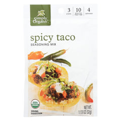 Simply Organic Spicy Taco Seasoning Mix - Case Of 12 - 1.13 Oz.