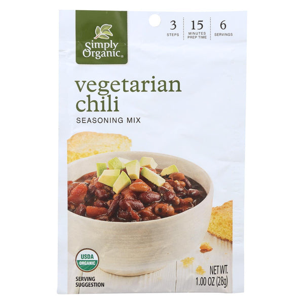 Simply Organic Seasoning Mix - Vegetarian Chili - Case Of 12 - 1 Oz.