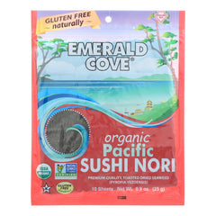 Emerald Cove Organic Pacific Sushi Nori - Toasted - Silver Grade - 10 Sheets - Case Of 6