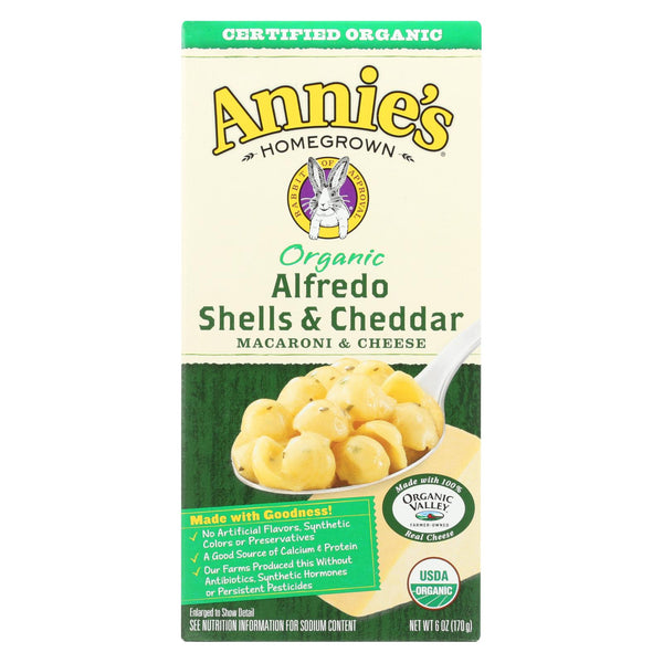 Annies Homegrown Macaroni And Cheese - Organic - Alfredo Shells And Cheddar - 6 Oz - Case Of 12