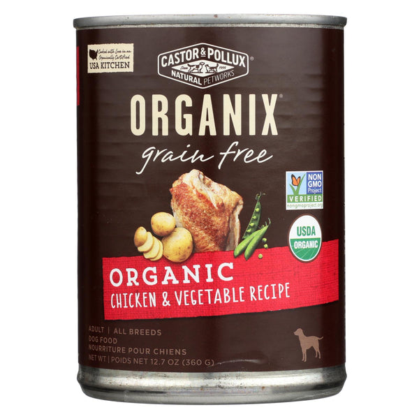 Castor And Pollux Organic Grain Free Dog Food - Chicken And Vegetables - Case Of 12 - 12.7 Oz.