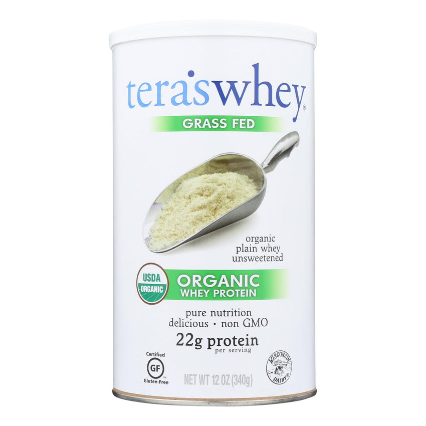 Teras Whey Protein Powder - Whey - Organic - Plain Unsweetened - 12 Oz